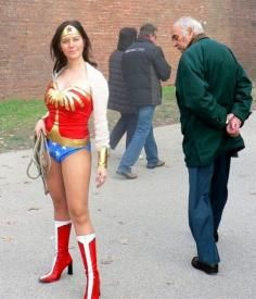 Do They Have Those In Men Sizes? In This Picture: Photo of man checking out Wonder Woman