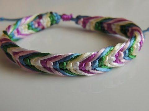 Tutorial DIY como hacer una Pulsera con forma de espiga .How to make Bracelet Frienship. - YouTube