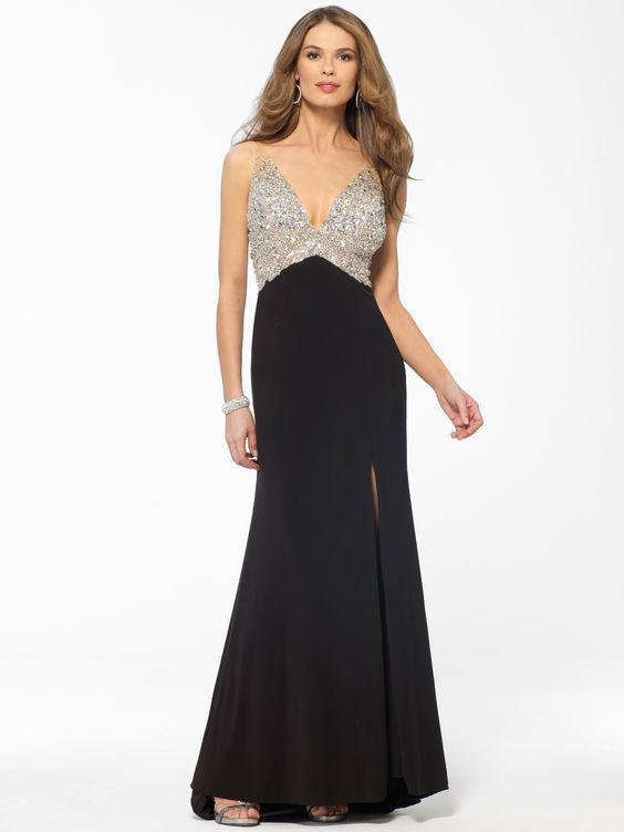 JOVANI   CACHE  Black Crystal Bust Gown  Caché  My Style ...