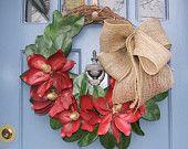 Magnolia Flower Door Wreath by MonicaMurrayHome on Etsy