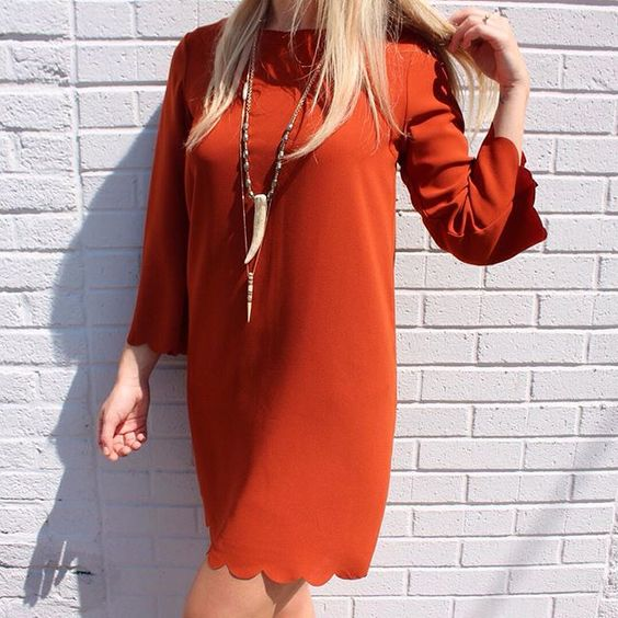 {Orange Crushin'} Scalloped Shift Dress in Rust $44. (Online and In Store) Gypset $42. Into the Woods Horn Necklace $68.  #newarrivals #scalloped #elysianlove http://ift.tt/1KgkBbo {Orange Crushin'} Scalloped Shift Dress in Rust $44. (Online and In Store) Gypset $42. Into the Woods Horn Necklace $68.  #newarrivals #scalloped #elysianlove
