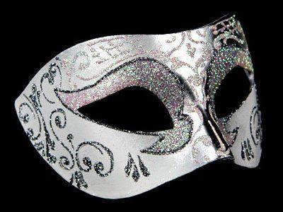 Venetian Masquerade Mask - Silver White