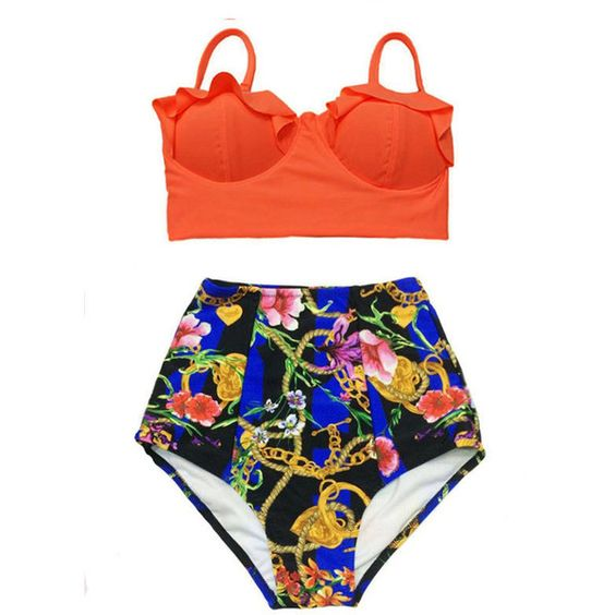 Orange Midkini Top and Graphic Art High Waisted Waist Cut Rise Bottom... ($40) ❤ liked on Polyvore featuring swimwear, bikinis, black, women's clothing, retro bikini, swimsuits bikinis, high-waisted bikinis, retro swimsuit and retro high waisted swimsuits