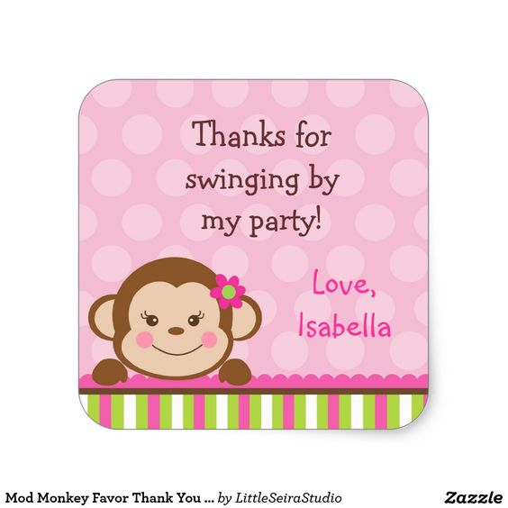 Mod Monkey Favor Thank You stickers Labels Seals