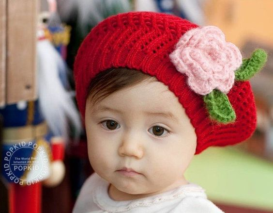 baby/infant knitted colorful cap/hat/beret with flower