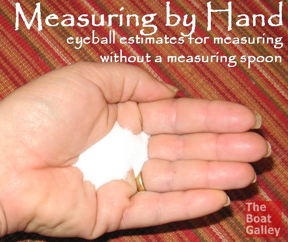 Measuring by Hand - If you don't have a measuring spoon, use your hand and these eyeball estimates!