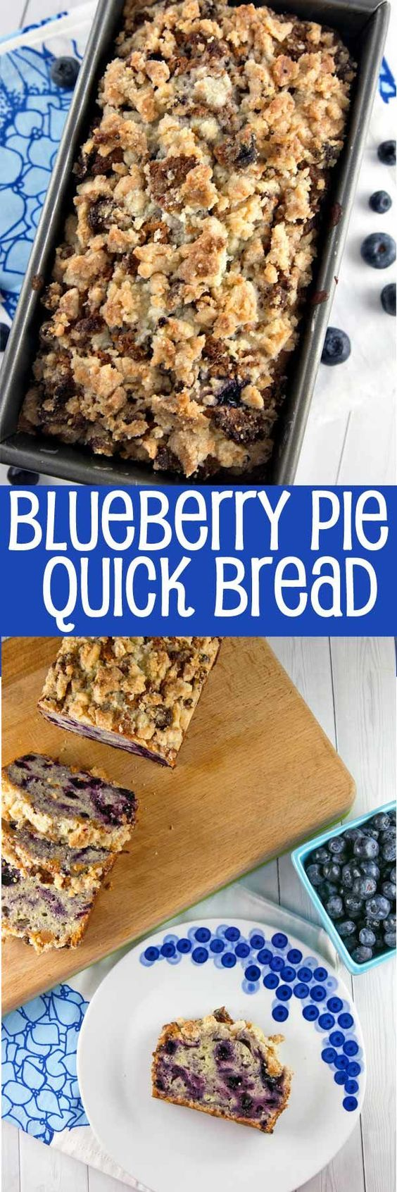 Blueberry Pie Quick Bread: homemade blueberry pie filling swirls with an almond…
