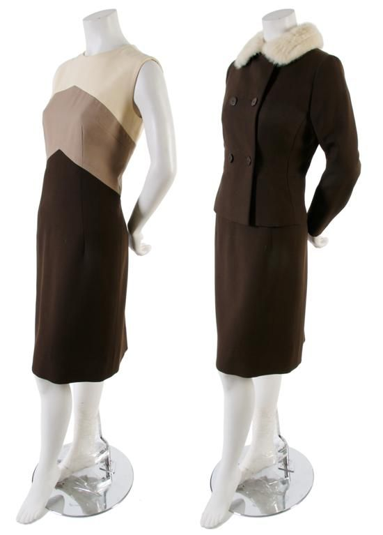 A Norman Hartnell Brown Dress and Jacket, 1960s