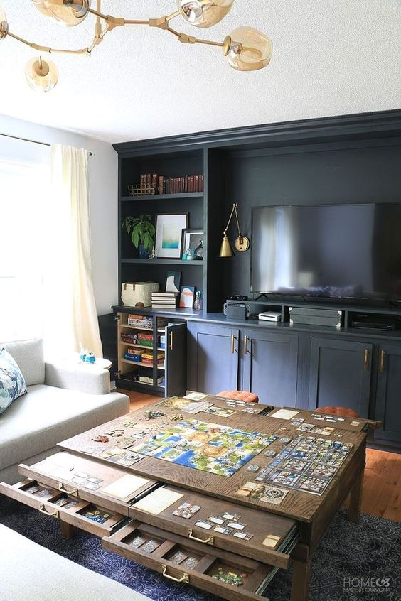 Don't have a dedicated room for table top board gaming? Check out this design and tips for turning any space into the ultimate table top gaming room!