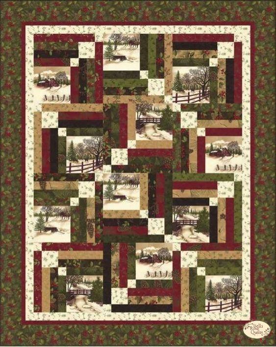 Through The Winter Woods Memory Lane Quilt Kit Panel