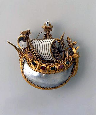 Caravel pendant    Late 16th century, Italian  Gold, rubies, emeralds, pearls and enamel    Hermitage Museum