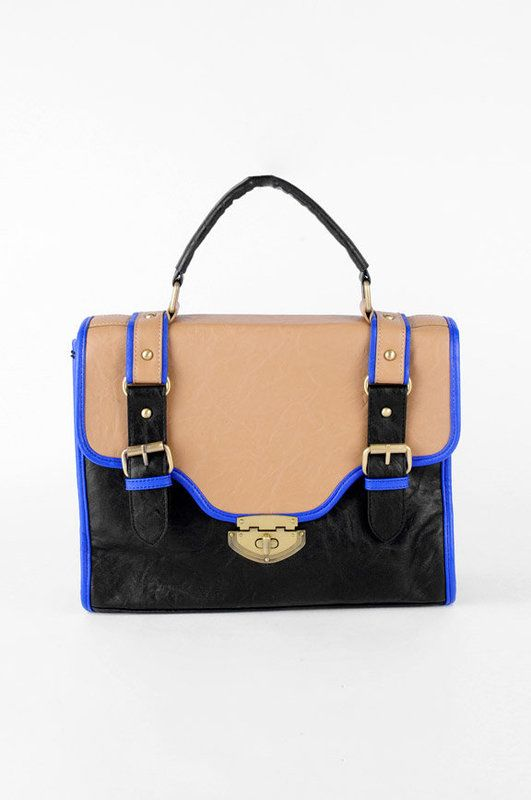 Joia saddle satchel in black, tan and neon blue $52