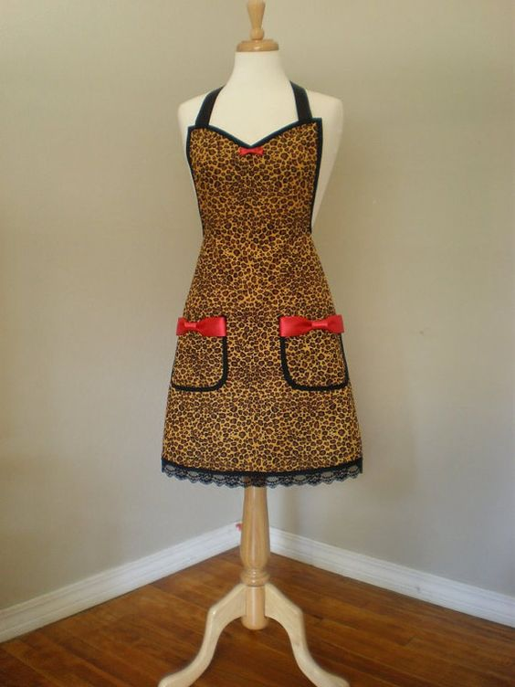 Bettie Page Leopard print apron with Lace by HauteMessThreads, $46.00