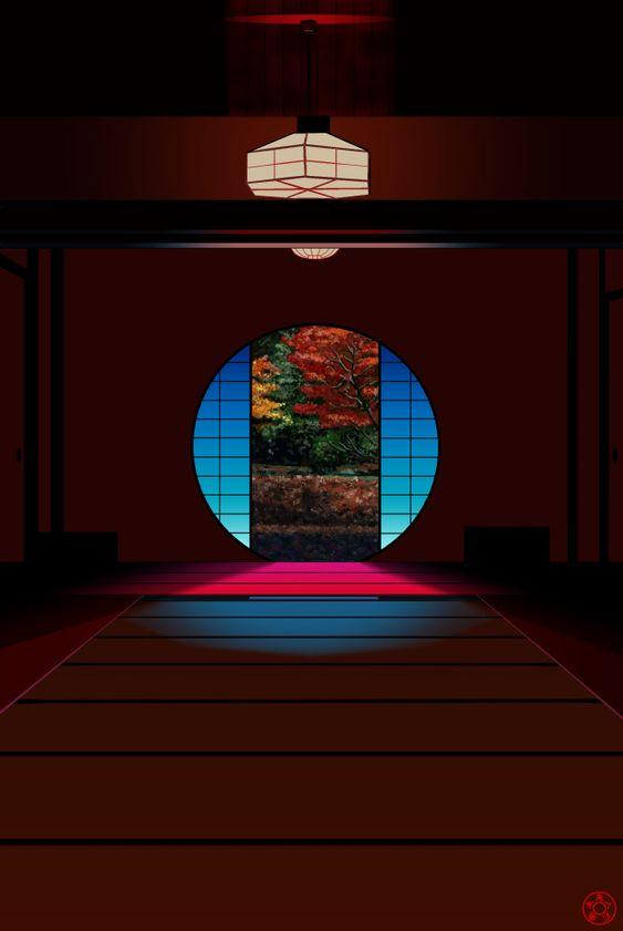 明月院の丸窓の写真を絵に Clipstudiopaintで描画 美しい場所