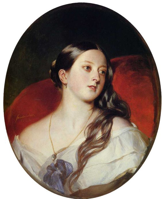 """Queen Victoria by Xavier Winterhalter  """"The portrait, comissioned in 1843, shows the Queen with her long brown hair loose around her shoulders, gazing into the distance.  She was just 24 when painted by the German artist Franz Xaver Winterhalter and his work was described as her husband Albert's 'favourite picture'. """""""
