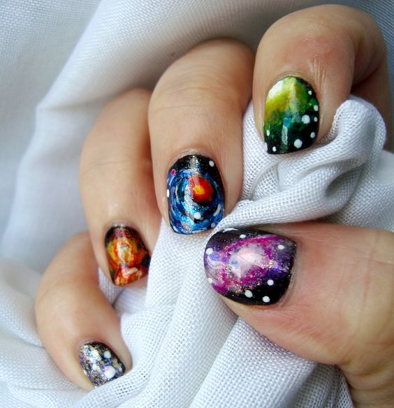 Diseño de uñas de galaxias. Galaxy nails.
