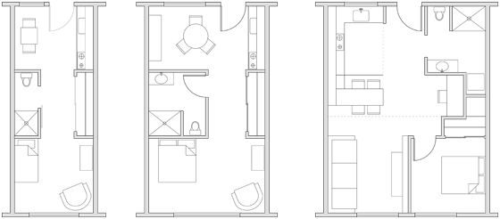 250 Ft Studio Apartment Floor Plans 500 sq ft studio apartment | initial schematic design of three