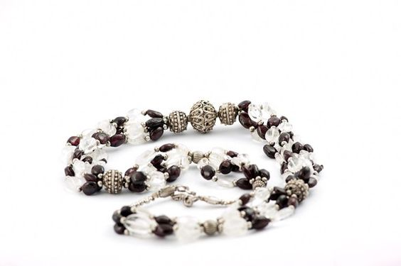 Vintage beaded Garnet necklace/ vintage with crystal by DevikaBox, $358.00