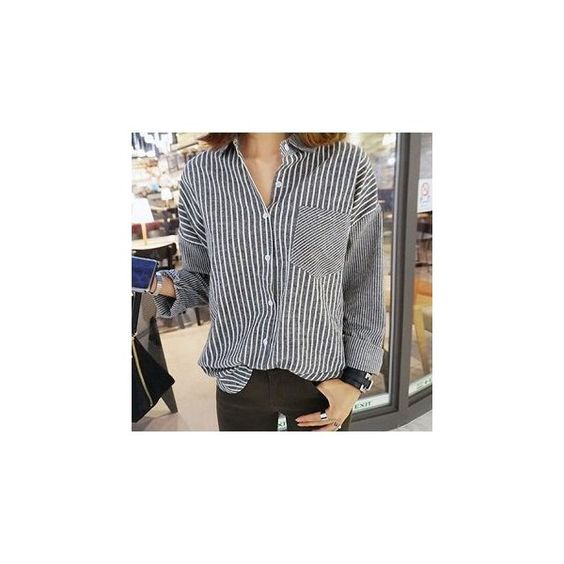 Long-Sleeve Striped Shirt ($16) ❤ liked on Polyvore featuring tops, shirts, women, striped top, blue top, long sleeve shirts, longsleeve shirt and blue striped shirt