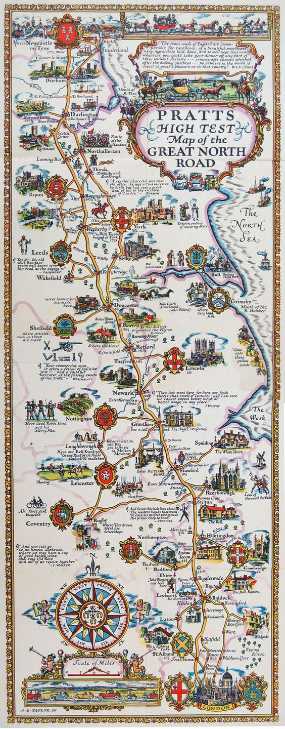 Pratts The Great North Road Map c1930 One of the decorative – Map Uk Roads