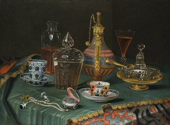 Christian Berentz, German (1658-1722) — Still Life with Crystal and Porcelain cups and a Clock (900x660):
