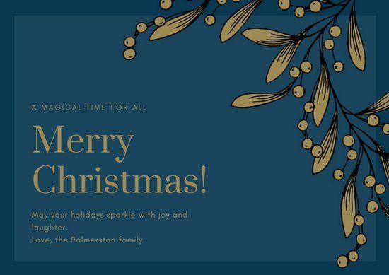 Blue Elegant Christmas Card Christmas Greeting Card Template Greeting Card Template Elegant Christmas