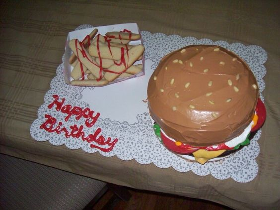 Hamburger cake with sugar cookie fries