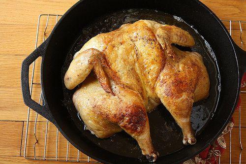 Flat Butterflied Roast Chicken Ingredients 1 Whole 3 To 4 Pound Chicken Coarse Salt And