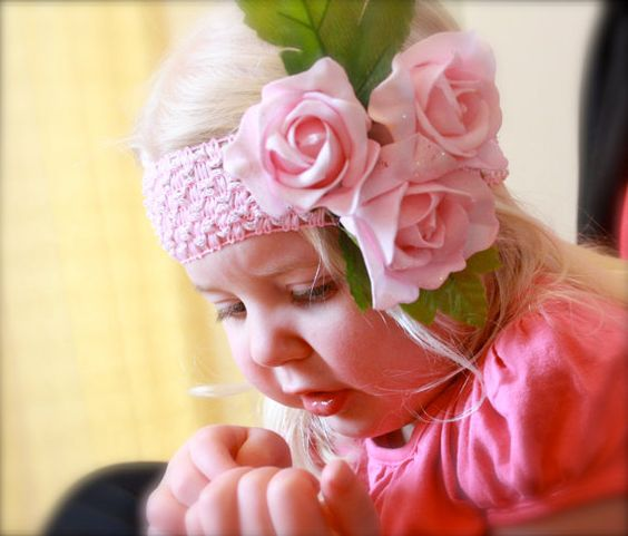 SO CUTE...Beautiful white and pink rose headband by TeanieBeanieBoutique, $8.00