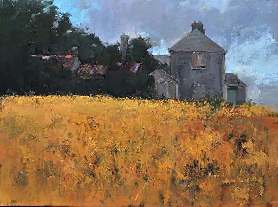 Golden Meadow By Valerie Craig Oil 24 Inches X 20 Inches Contemporary Art Painting Landscape Paintings Golden Meadow