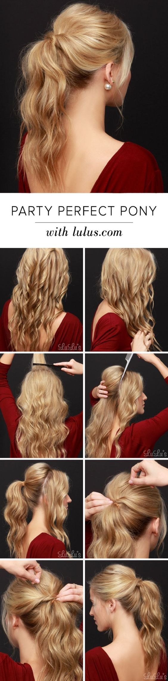 Party Perfect Ponytail Hair Tutorial - 12 Party Perfect Beauty Tutorials That'll Make You Sparkle | GleamItUp: