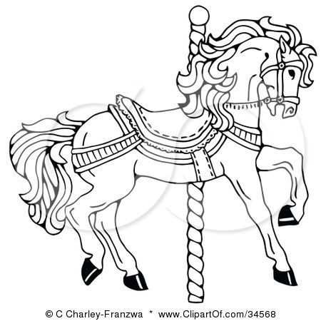 clipart illustration of a carousel horse facing right on a spiral pole by c charley franzwa