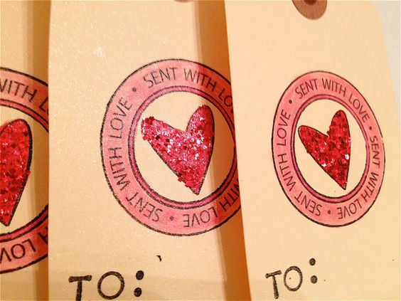 SALE  Heart 4 TAG Set  Teacher Glitter To From by BlackSheepBetsy, $2.00