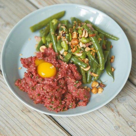 Bohnensalat mit Rindertatar