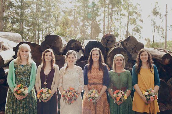 Earthy bridesmaids dresses: