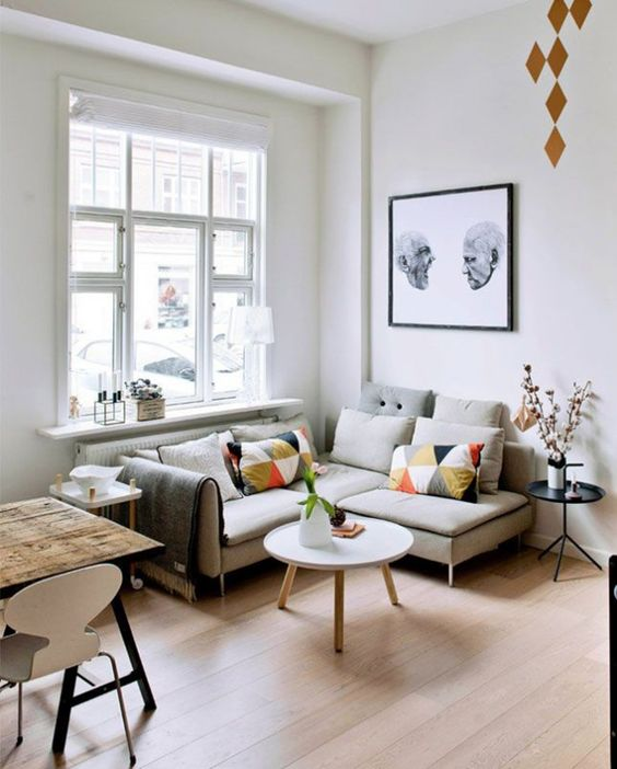 22 Tips to Make Your Tiny Living Room Feel Bigger via Brit + Co: