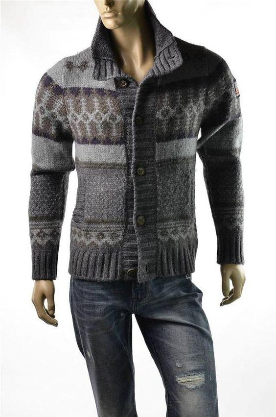 True Religion Sweater Mens Fair Isle Alpaca Wool Cardigan Sweaters Sz L NWT $519 TrueReligion Cardigan