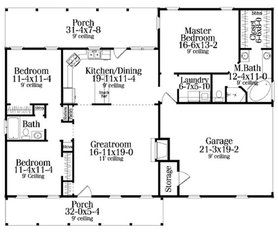 Open floor square feet and bath on pinterest for 1500 sf house floor plans