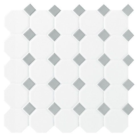 Daltile Octagon Dot Matte White Grey 12 Inch X 12 Inch X 13 Mm Ceramic Mosaic Tile 10 Sq Ft Case The Home De In 2020 Daltile Ceramic Mosaic Tile Mosaic Tiles