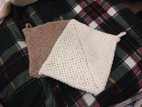 My completed double thick crochet pot holders