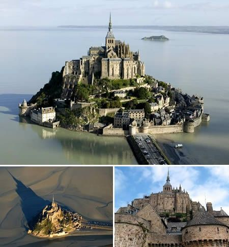 a real island that was a castle, monastery and now a historical tour point. In France, I think...can't remember