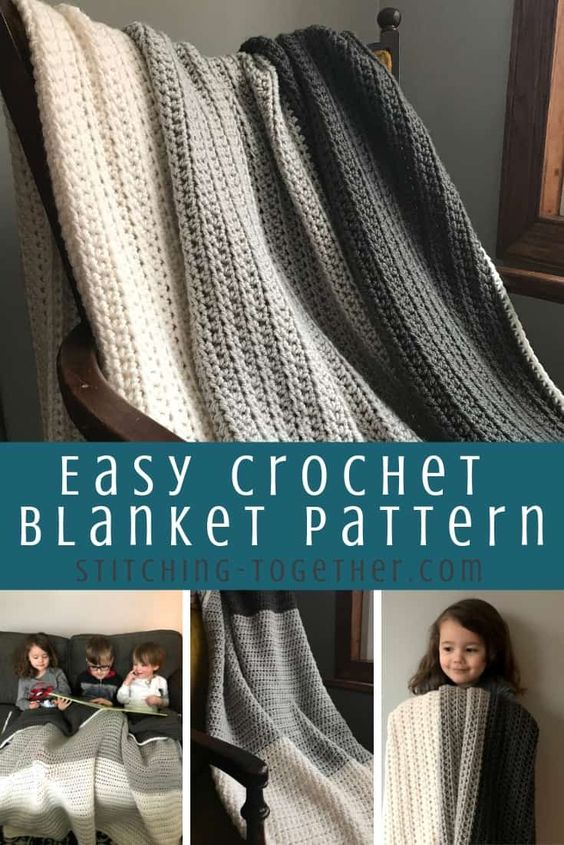 Don't you love a good and simple half double crochet blanket pattern? This modern blanket will look great with any home decor. Get the free pattern now. #stitchingtog #crochetblanket