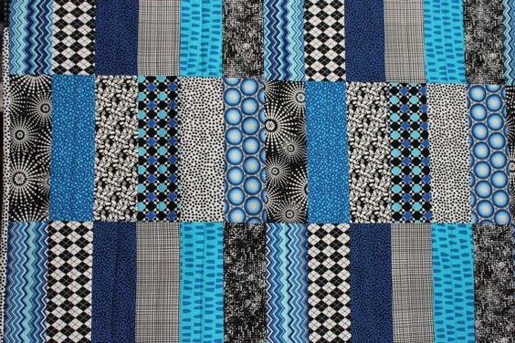 """Modern Baby Quilt """"Tessa"""" in Contemporary Geometric Pattern in Blues; Baby, Toddler, Child or Lap Quilt; Play Mat, Wall Hanging by iheartbabyquilts, $89.00"""