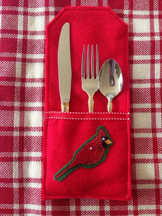 Utensil sleeves  Red with Sequined by ChicAndTotallyUnique on Etsy, $27.00