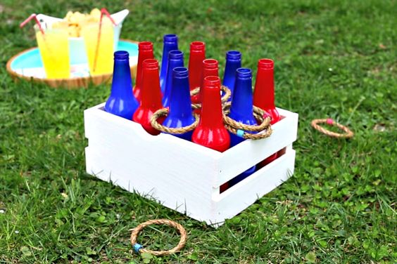 HGTV Crafternoon: Red, White and Blue Ring Toss Game (http://blog.hgtv.com/design/2014/07/01/hgtv-crafternoon-red-white-and-blue-ring-toss-game/?soc=pinterest): Cute Rings, July Crafts, July Ideas, Diy Rings, Drinking Game