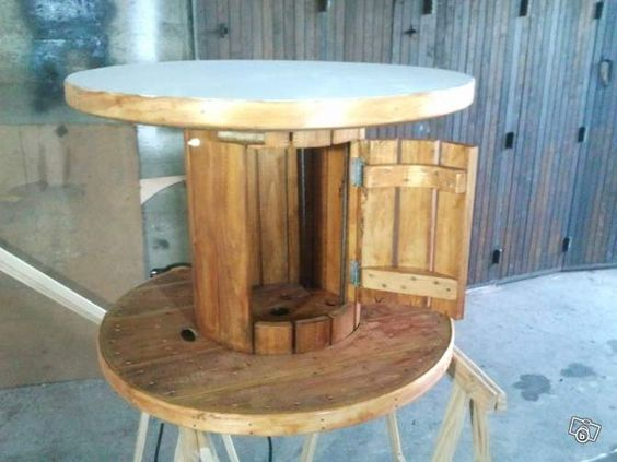 Table basse faite avec un touret - Customiser une table basse en bois ...