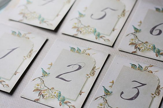 Vintage Paper & Birds Table Numbers  Set of 12 3 by graystardesign, $15.00