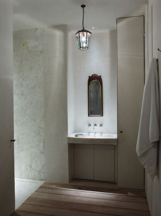 Rose Uniacke - The Pimlico Road Association/plaster flush with marble slab in shower.