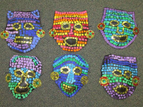 3rd grade paper mache mosaic ancient Mayan mask; lesson by art teacher: Susan Joe