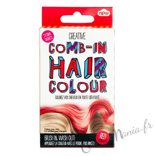 comb in coloration cheveux temporaire rouge color mania http - Coloration Rose Temporaire